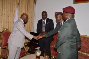 Vice President Boakai Shakes Hands with Colonel Johnson