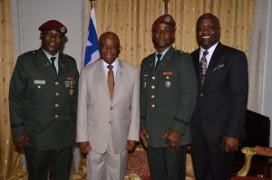 From L-R: Lt. Col. Forleh, Vice President Boakai, Col. Johnson and Deputy Minister Joseph F. Johnson